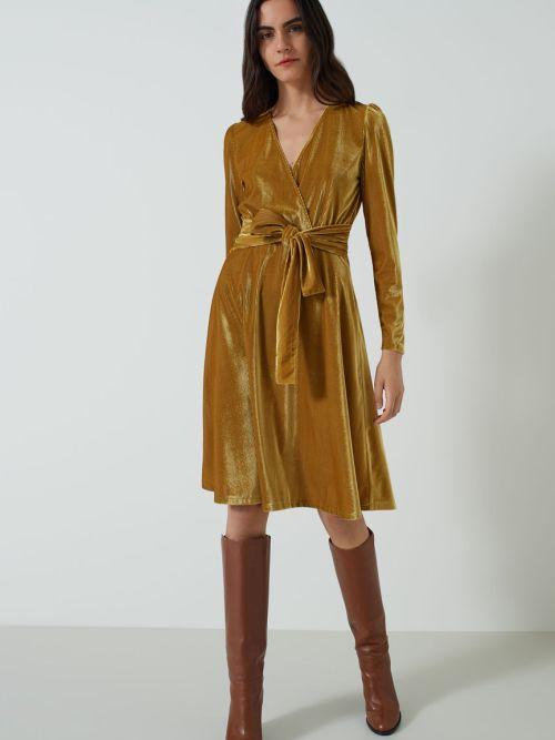 Velvet Dress in Mustard