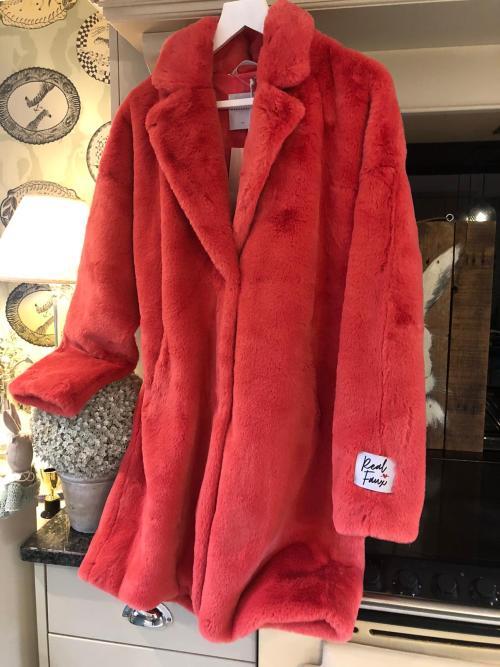 Rino & Pelle Fuscia Red Faux Fur Coat