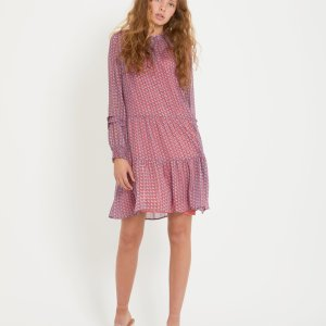 Smock Dress with Houndstooth Print in Blush Pink