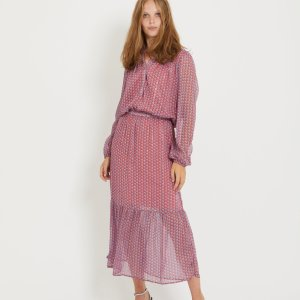 Long Dress with Houndstooth Print in Blush Pink