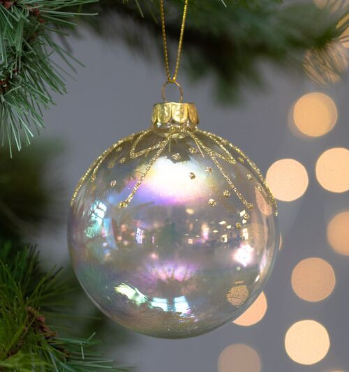 Gisela Graham Clear Glass Bauble with Gold Leaves