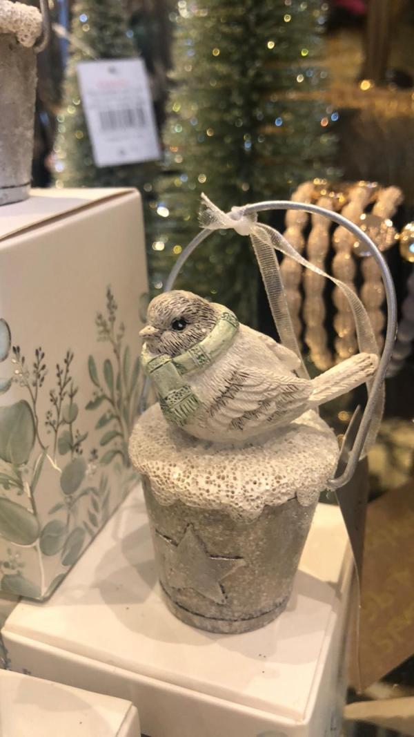 Bird on a Bucket Tree Decoration