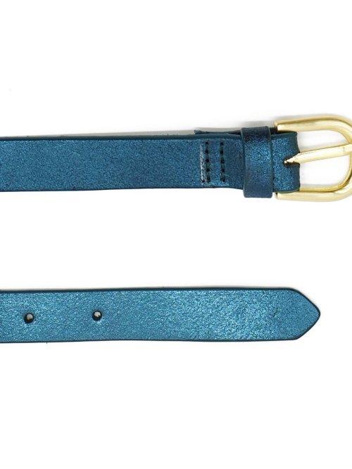 Melena Metallic Leather Belt in Teal