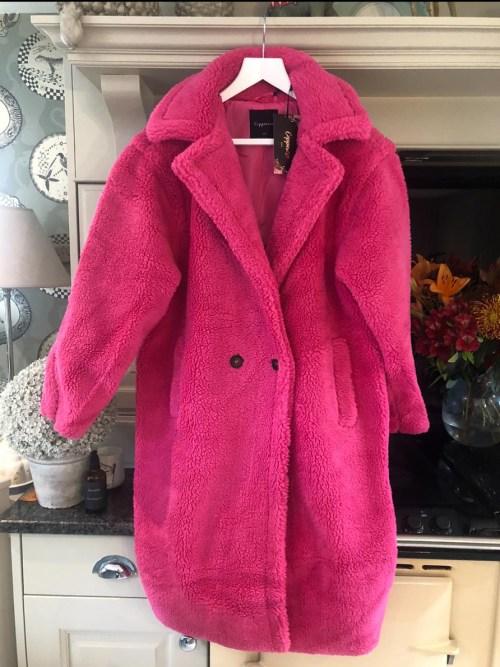 Hot Pink Teddy Faux Fur Long Coat