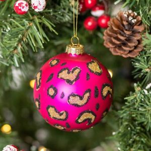 Gisela Graham Pink Leopard Print Glass Bauble