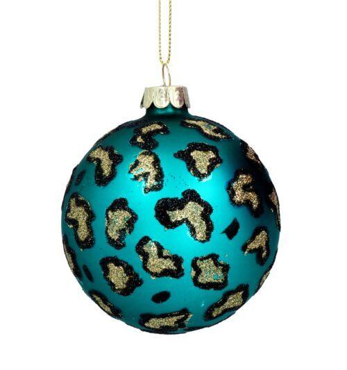 Gisela Graham Blue Leopard Print Glass Bauble