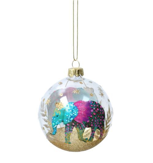 Gisela Graham Clear with Fantasy Elephant Glass BaubleGisela Graham Clear with Fantasy Elephant Glass Bauble
