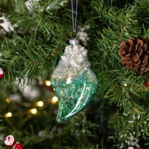 Gisela Graham Assorted Blue/Green Clear Shell Glass Tree Decoration