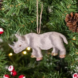 Gisela Graham Faux Fur Rhino Tree Decoration