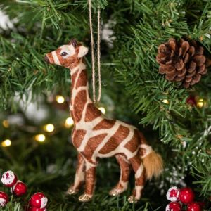 Gisela Graham Faux Fur Giraffe Tree Decoration