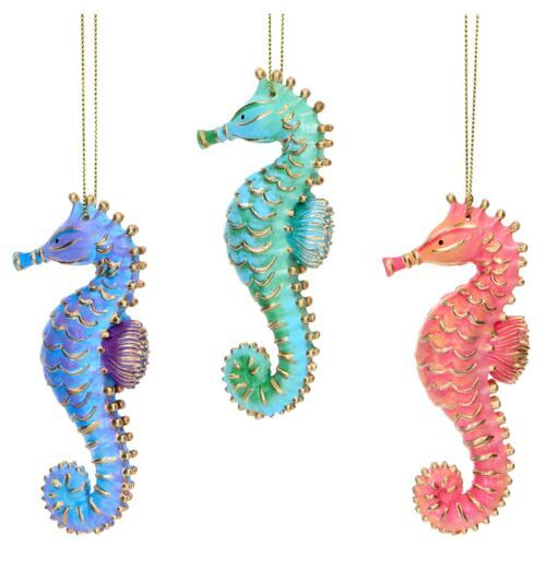Gisela Graham Assorted Pastel Resin Seahorse Tree Decoration