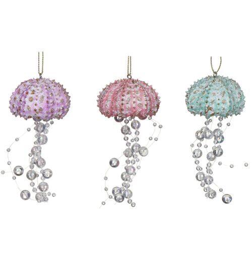 Gisela Graham Assorted Pastel Resin and Bead Jellyfish Tree Decoration