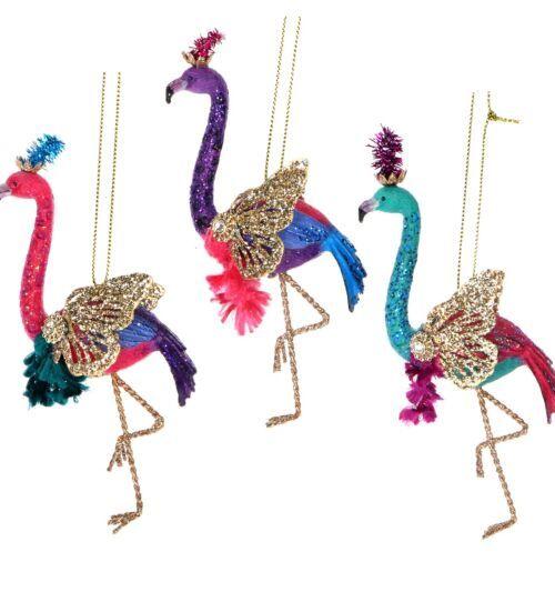 Gisela Graham Assorted Fantasy Flamingo Resin Tree Decoration