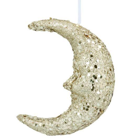 Gisela Graham Gold Glitter Moon Face Tree Decoration