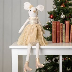 Gisela Graham Fabric Mouse in Gold Dress Ornament