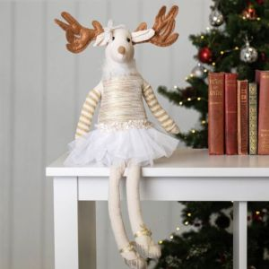 Gisela Graham Fabric Gold Ballerina Reindeer Ornament