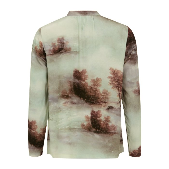 Misty Forest Long Sleeved Print Blouse