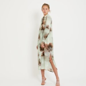 Long Shirt Dress in Misty Forest Print with Tie Belt