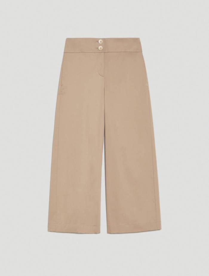 Wide Leg Cotton Satin Trousers in Beige