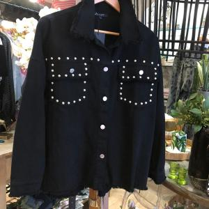 Fringed Studded Shacket in Black