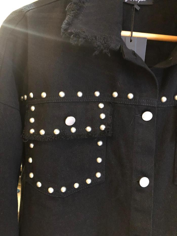 Fringed Studded Shacket in Black
