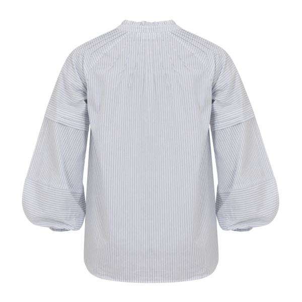 Blue Striped Shirt with Pleats