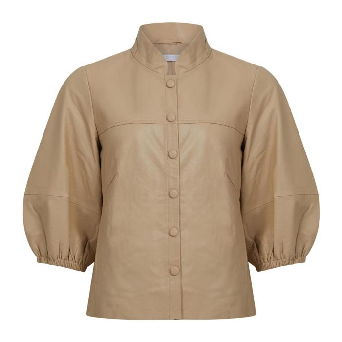 Leather Shirt with Balloon Sleeves