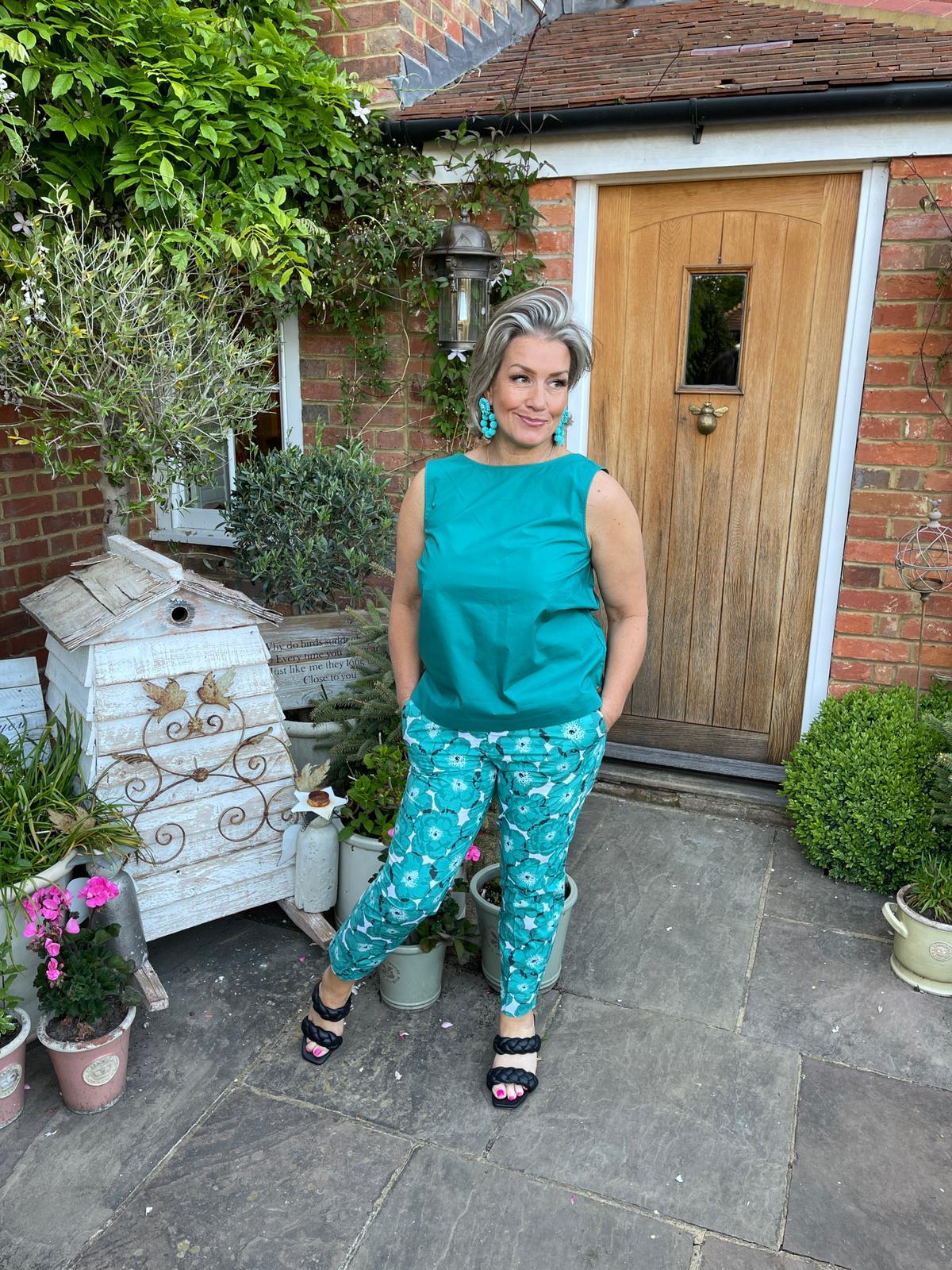 Floral poplin trousers