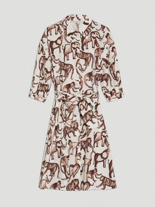 Poplin Cotton Shirt Dress in Animal Print