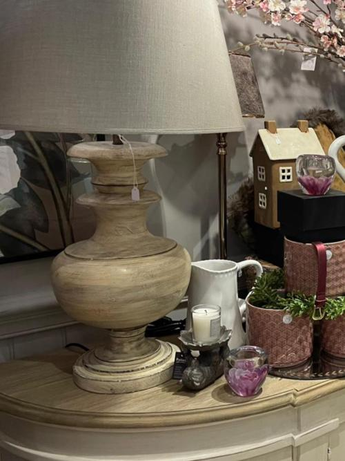 Wooden Turned Lamp with Taupe Shade