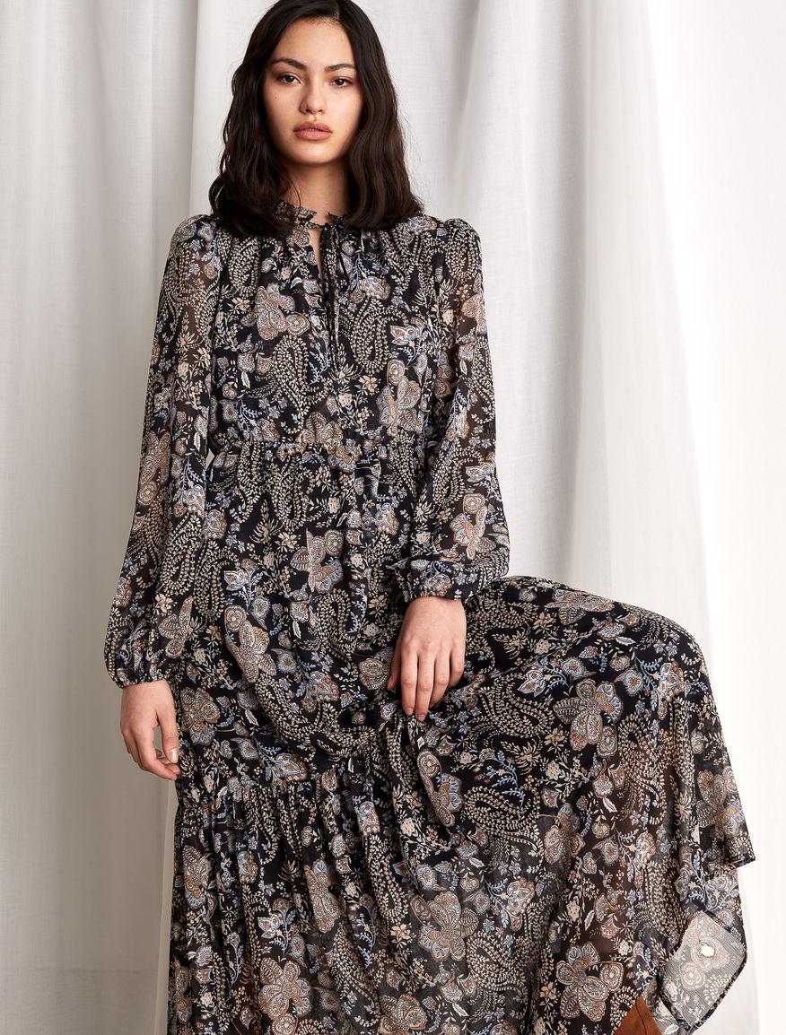 Floral Patterned Maxi dress in Black