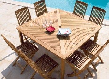 Table De Jardin Teck Truffaut | Table De Jardin Ovale En Teck Massif ...