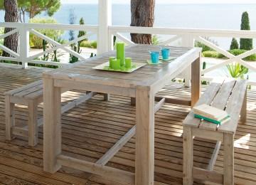 Table De Jardin En Bois Delamaison | Table Jardin Solde Table De ...