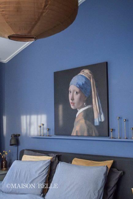 Slaapkamer styling  blauw en oker geel  Maison Belle