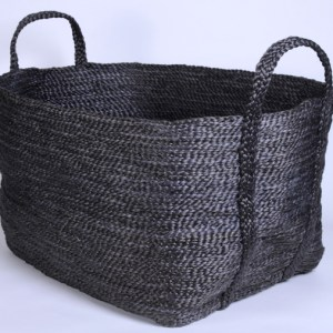 Hand woven square jute basket charcoal BSK-J2Grey