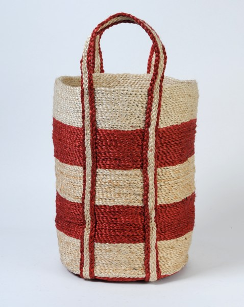 Small round jute basket red stripe