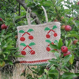 Cherry jute macrame bag on October apple day