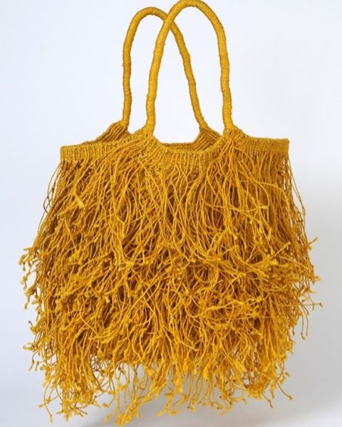 Just arrived, the hugely popular jute macrame fringe bags in yellow, green, red or natural indigo