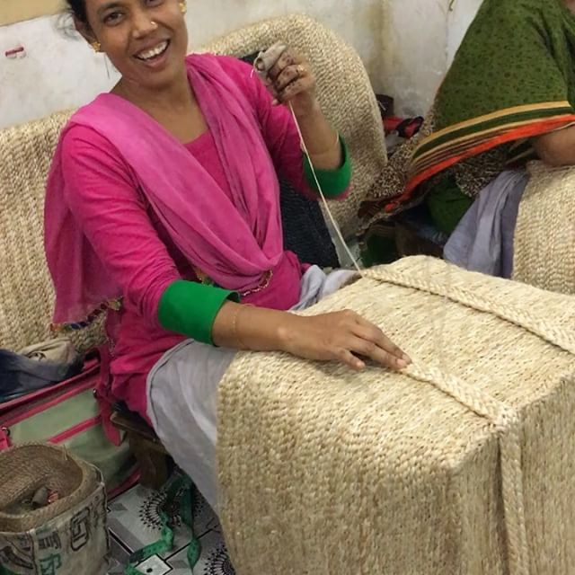 Head office downtown Dhaka today - final checks on jute baskets, strengthening of handles and quality control before packing for shipment