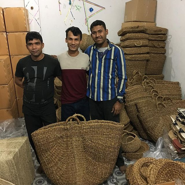 Our all-important packing team in Dhaka, Selim, Rumel and Tanvir