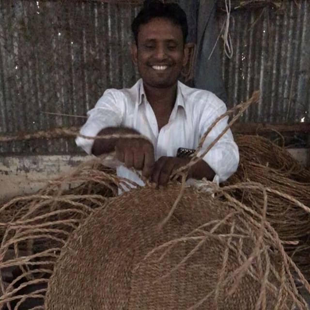 Visit to hogla (sea-grass) basket weavers today - Rezaul is the production manager