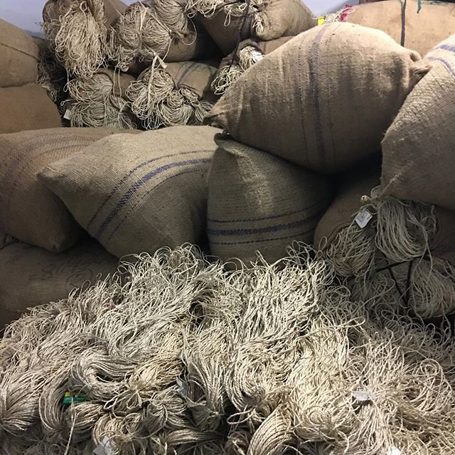 Stockpiling the hand twisted jute cord for the Spring 2019 macramé bag orders