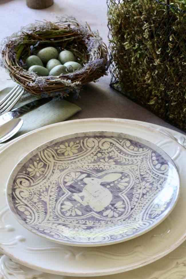 Easter Table With Purple Tulips And Pottery Barn Plates