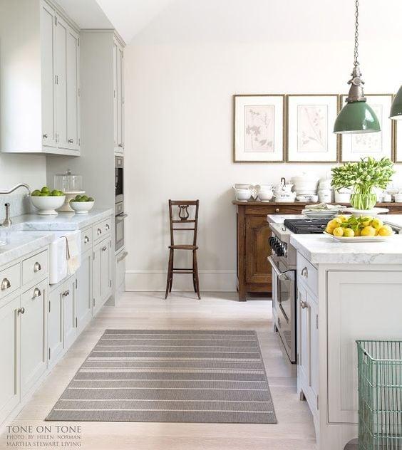grey-and-white-kitchen-green-pendants