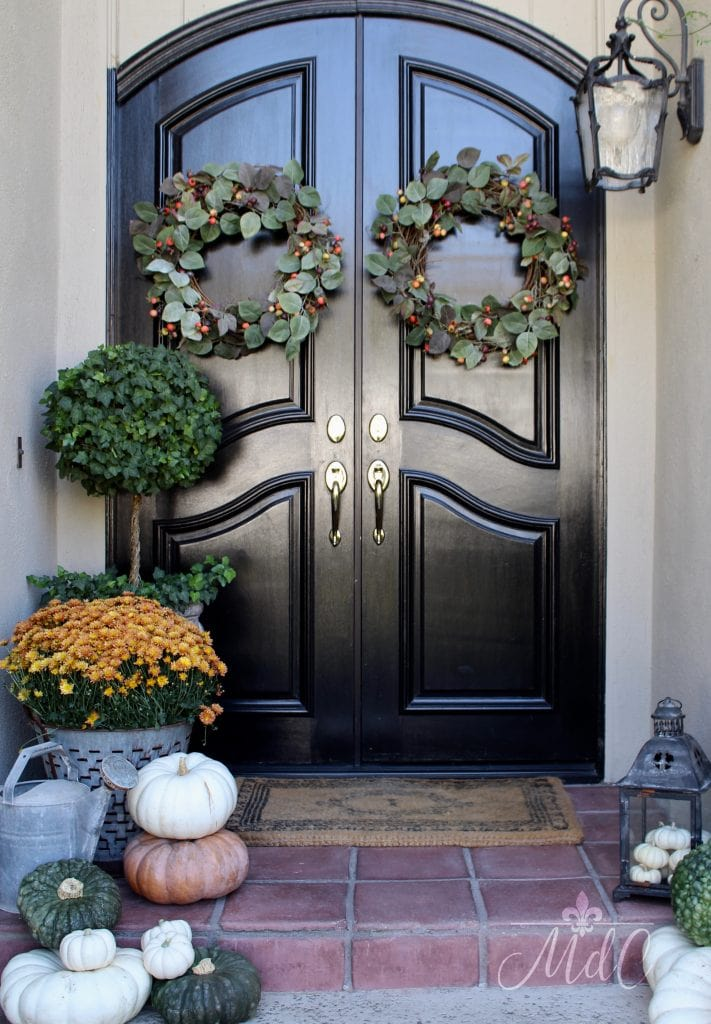 warm cozy fall home tour front door pumpkins and wreaths fall inspiration