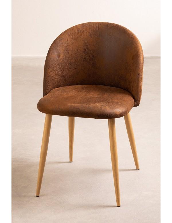 chaise scandinave rembourree en simili cuir marron hope
