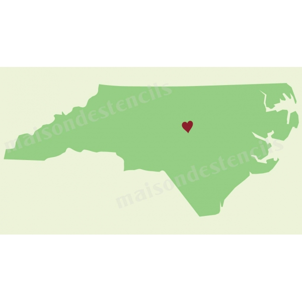 North Carolina State Map with Heart 10x12 Stencil
