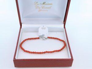 Bracelet en corail rouge véritable de Méditerranée et argent 925 par 1000 BR-CO-AR-029