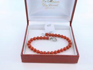 Bracelet en corail rouge véritable de Méditerranée et argent 925 par 1000 BR-CO-AR-034