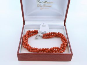 Bracelet en corail rouge véritable de Méditerranée et argent 925 par 1000 BR-CO-AR-040